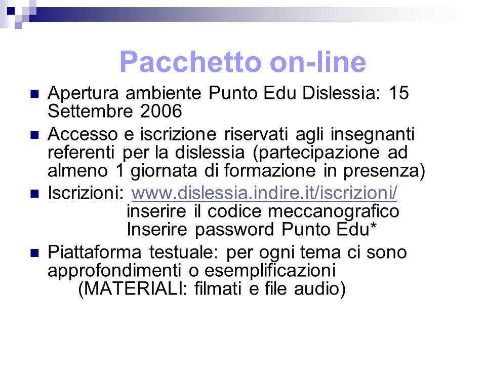 Pacchetto on-line Apertura ambiente Punto Edu Dislessia: 15 Settembre 2006.