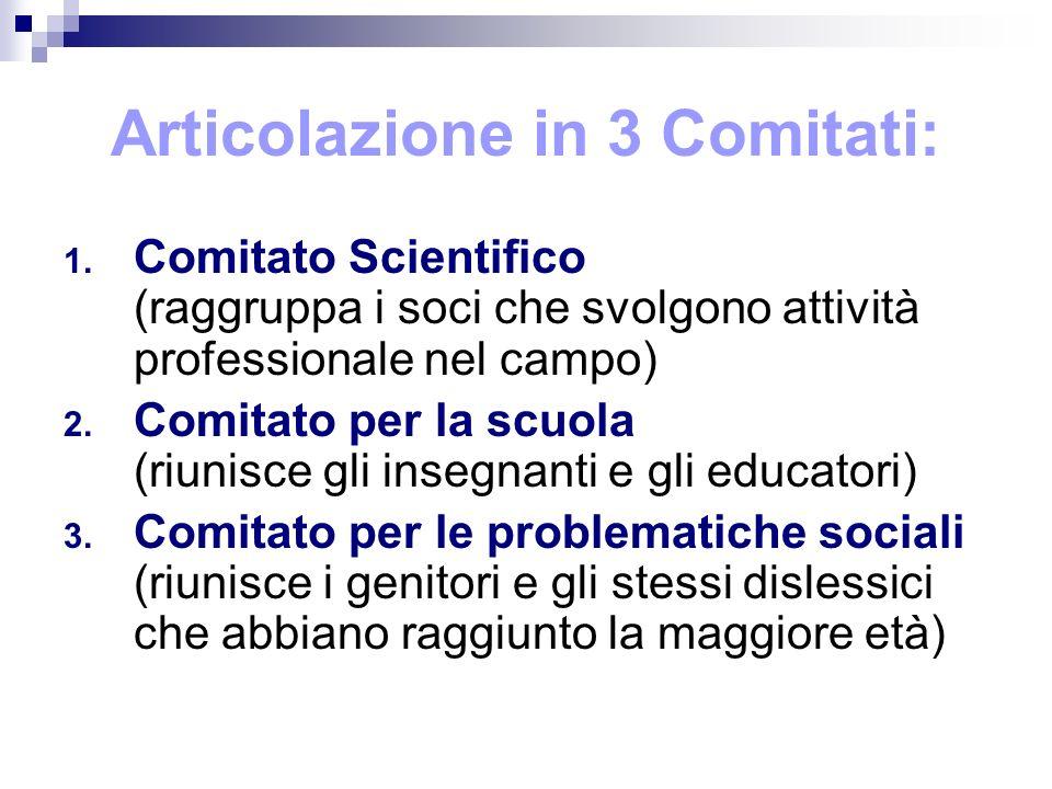 Articolazione in 3 Comitati: