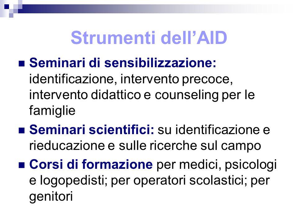 Strumenti dell'AID Seminari di sensibilizzazione: identificazione, intervento precoce, intervento didattico e counseling per le famiglie.