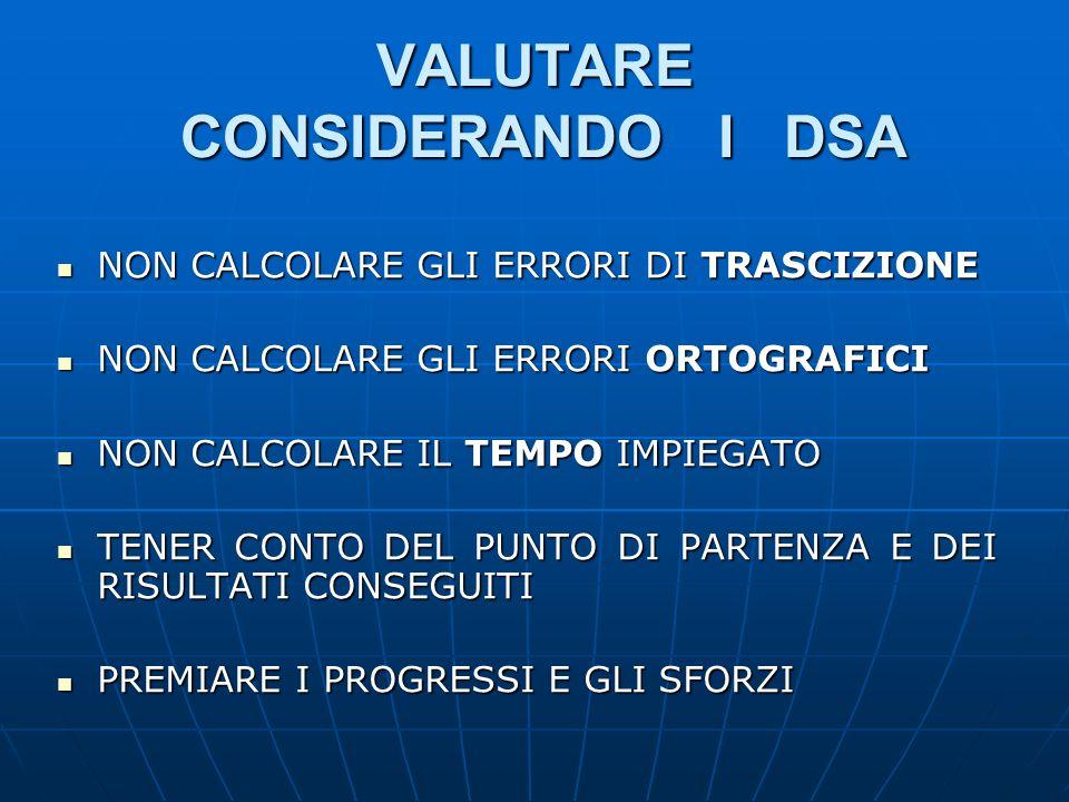 VALUTARE CONSIDERANDO I DSA