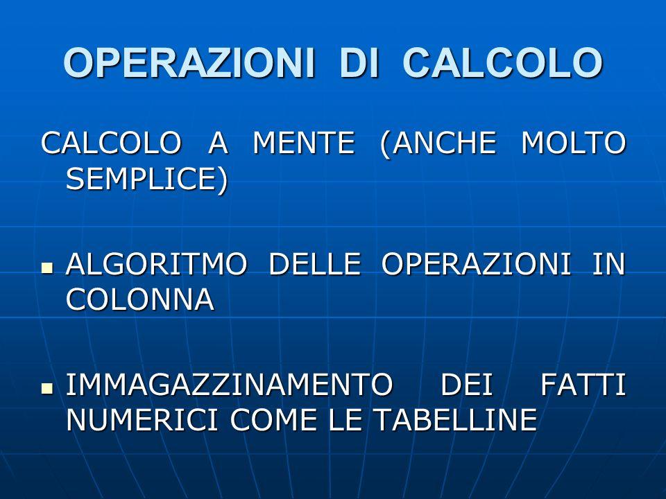 OPERAZIONI DI CALCOLO CALCOLO A MENTE (ANCHE MOLTO SEMPLICE)