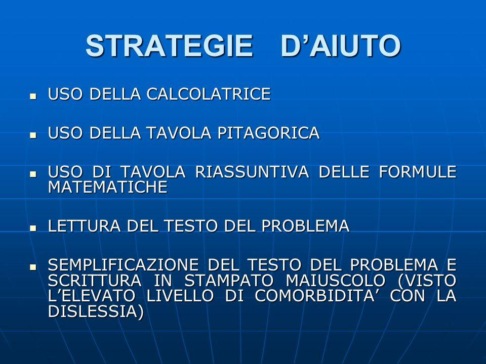 STRATEGIE D'AIUTO USO DELLA CALCOLATRICE USO DELLA TAVOLA PITAGORICA