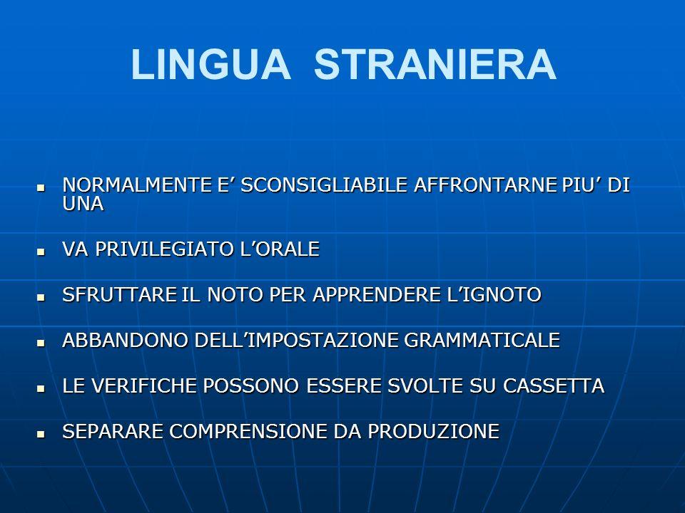 LINGUA STRANIERA NORMALMENTE E' SCONSIGLIABILE AFFRONTARNE PIU' DI UNA