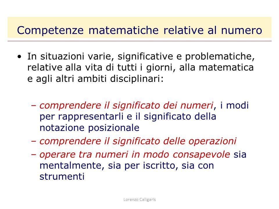 Competenze matematiche relative al numero