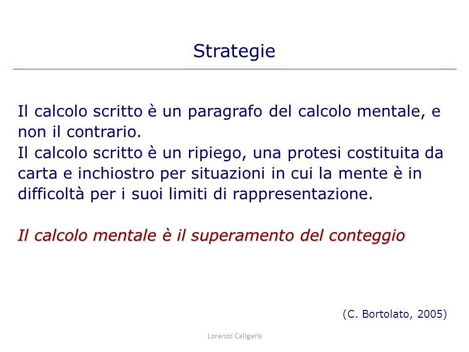 Strategie Il calcolo scritto è un paragrafo del calcolo mentale, e