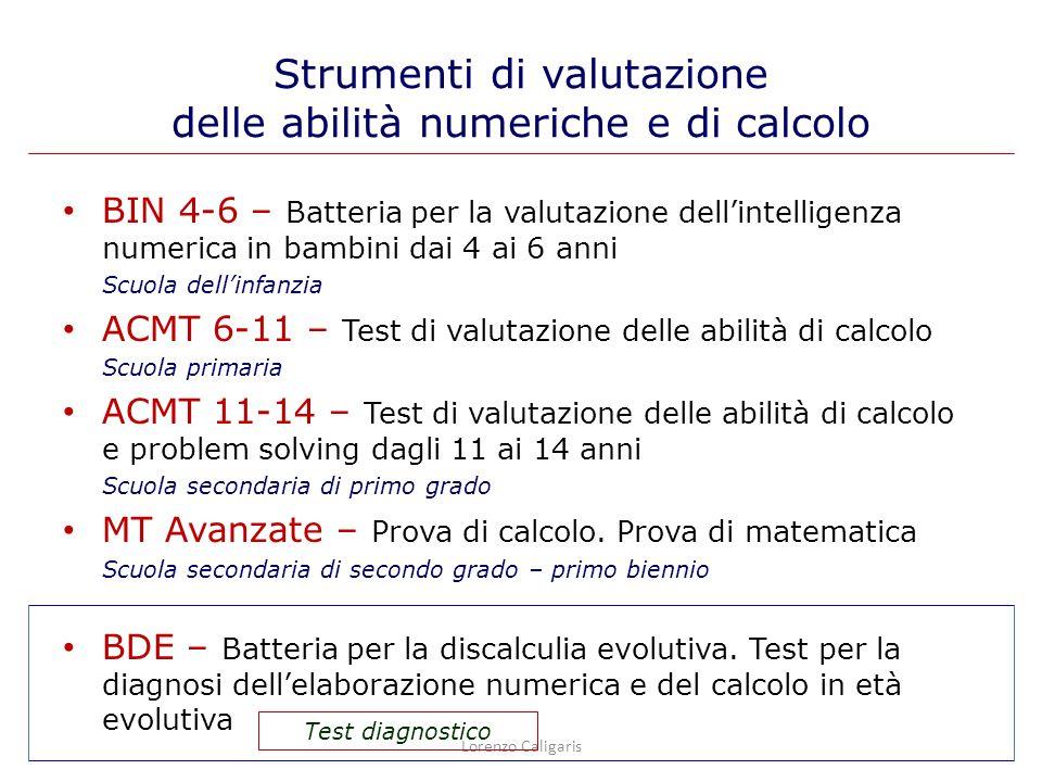Strumenti di valutazione delle abilità numeriche e di calcolo