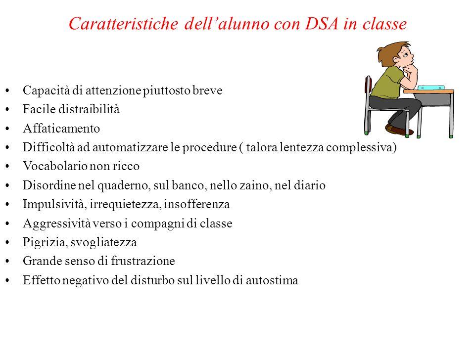Caratteristiche dell'alunno con DSA in classe