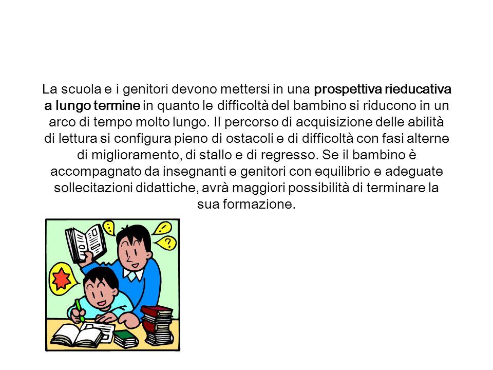 La scuola e i genitori devono mettersi in una prospettiva rieducativa a lungo termine in quanto le difficoltà del bambino si riducono in un arco di tempo molto lungo.