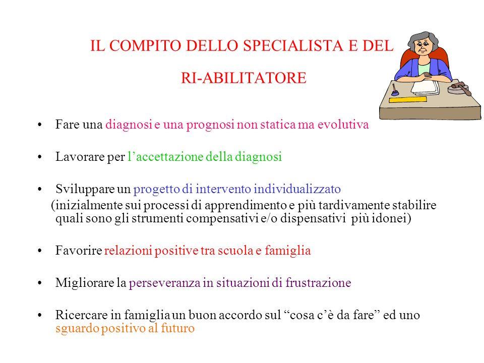 IL COMPITO DELLO SPECIALISTA E DEL RI-ABILITATORE