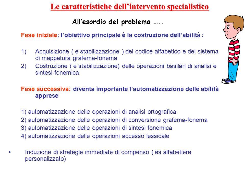 Le caratteristiche dell'intervento specialistico