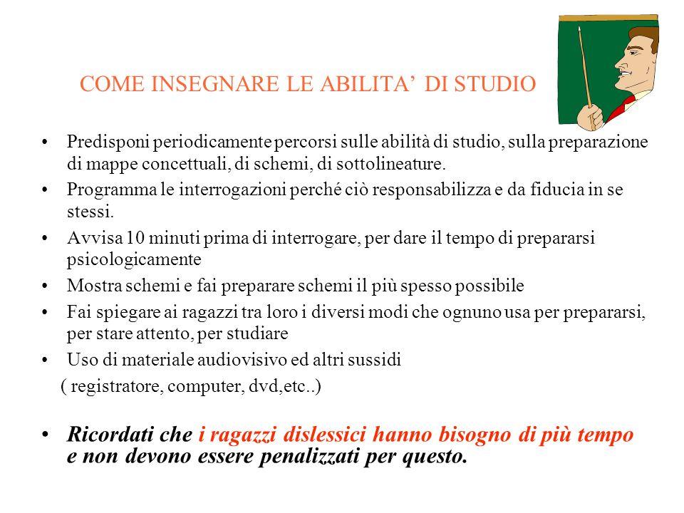 COME INSEGNARE LE ABILITA' DI STUDIO