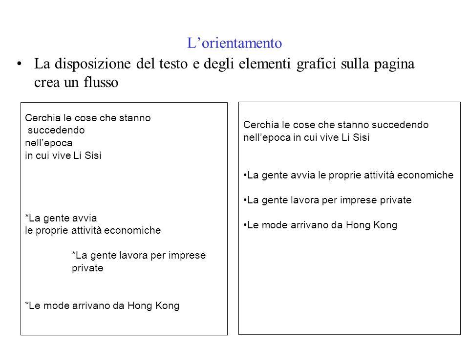 L'orientamento La disposizione del testo e degli elementi grafici sulla pagina crea un flusso. Cerchia le cose che stanno.