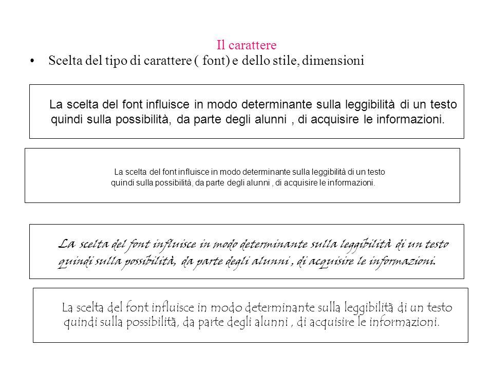 Scelta del tipo di carattere ( font) e dello stile, dimensioni