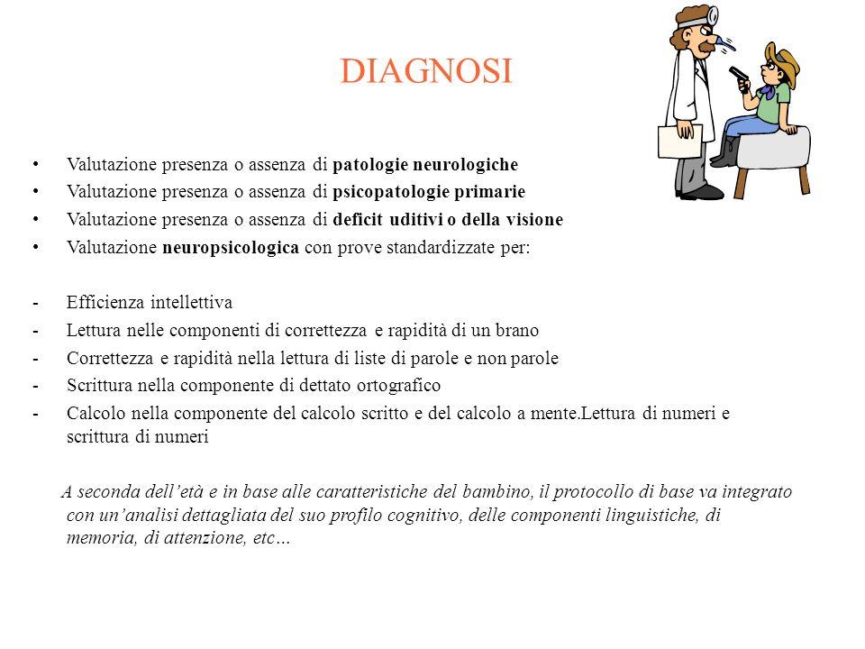 DIAGNOSI Valutazione presenza o assenza di patologie neurologiche