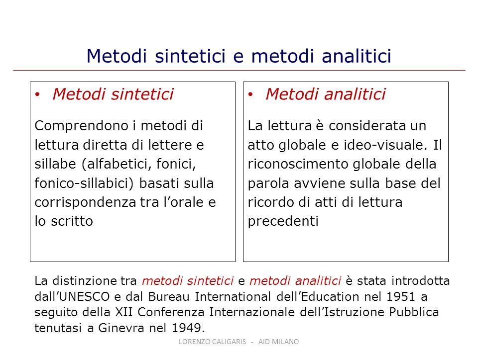 Metodi sintetici e metodi analitici
