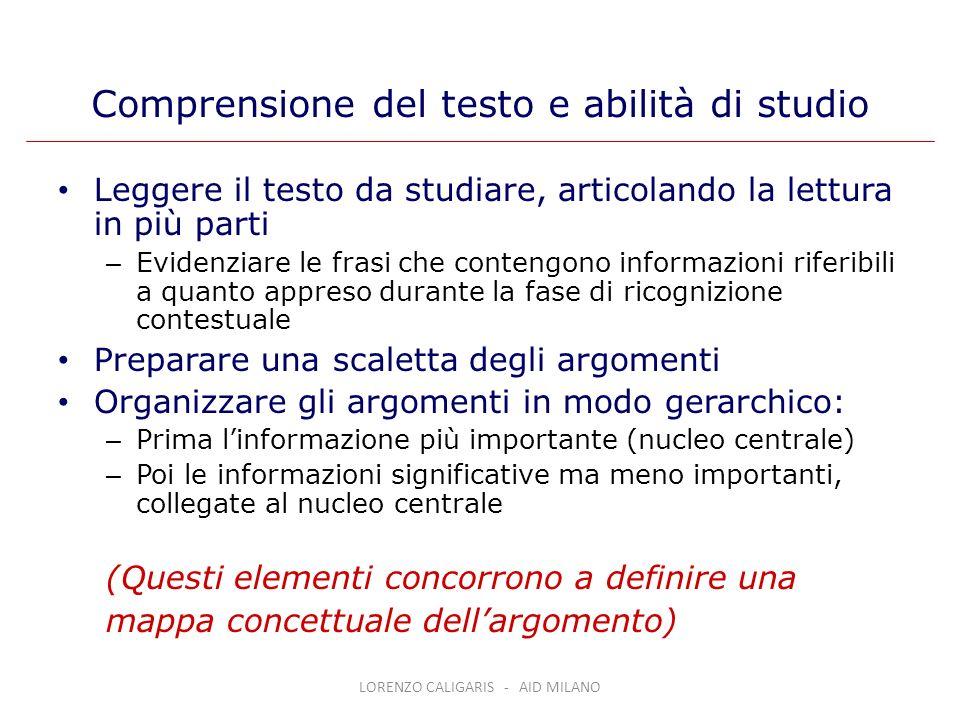 Comprensione del testo e abilità di studio