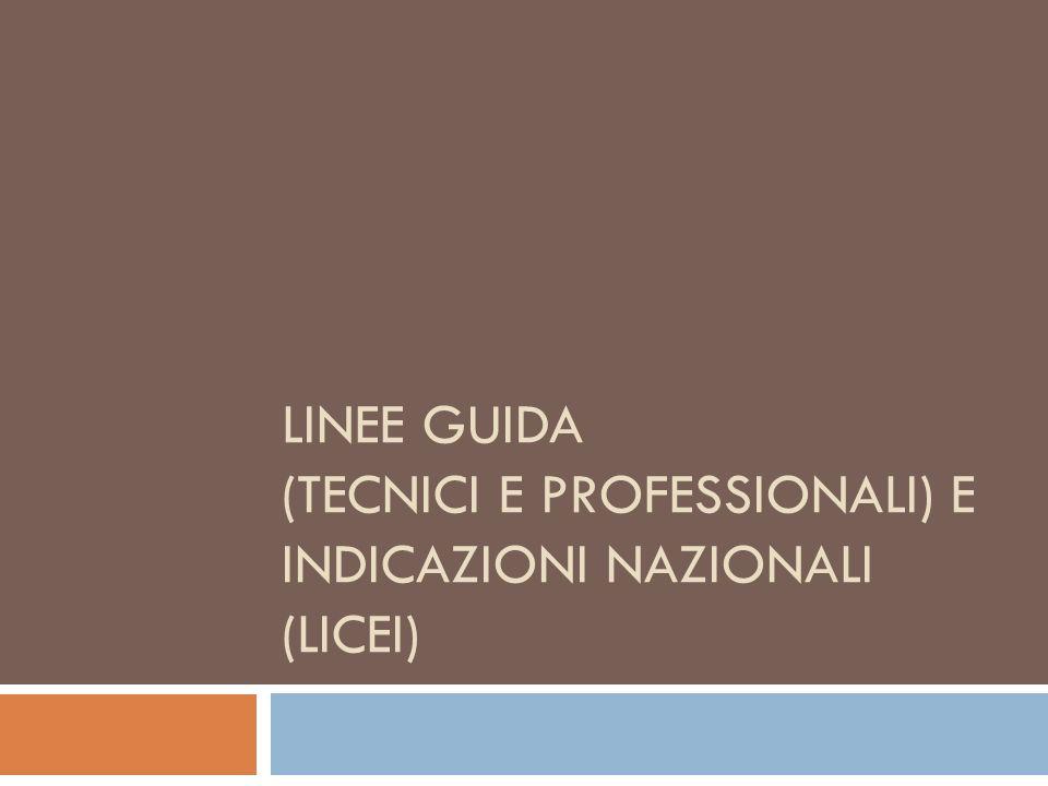 Linee guida (Tecnici e professionali) e Indicazioni nazionali (Licei)
