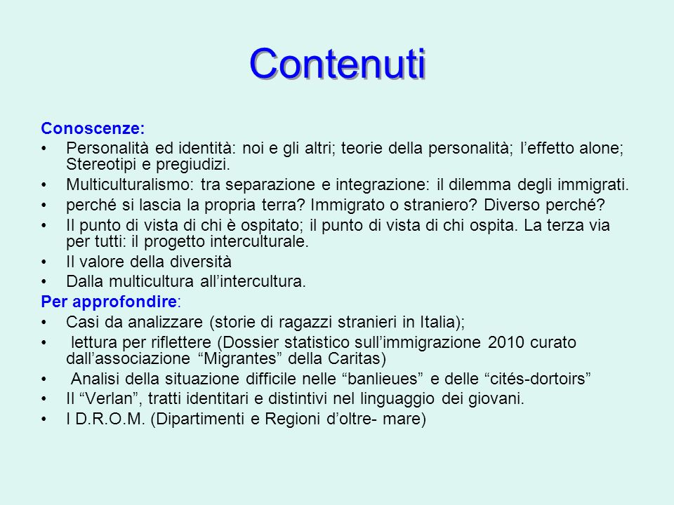 Contenuti Conoscenze: