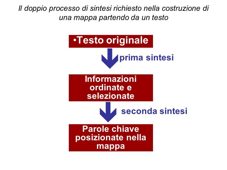   Testo originale prima sintesi Informazioni ordinate e selezionate