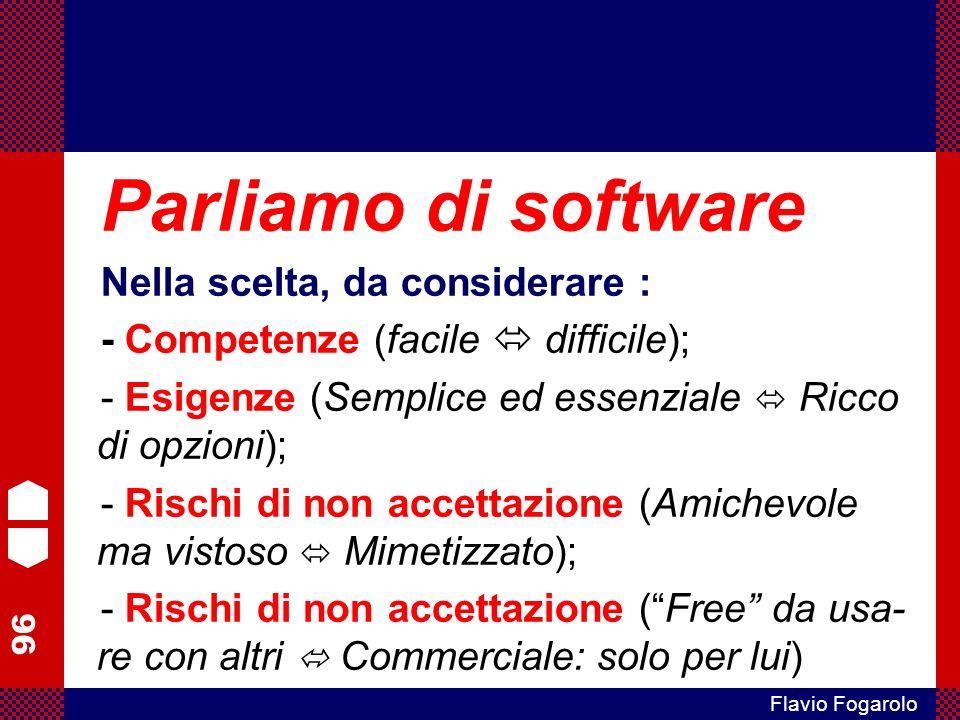 Parliamo di software Nella scelta, da considerare :