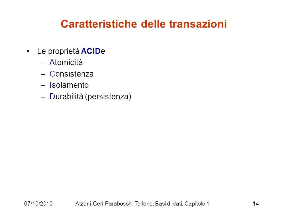 Caratteristiche delle transazioni