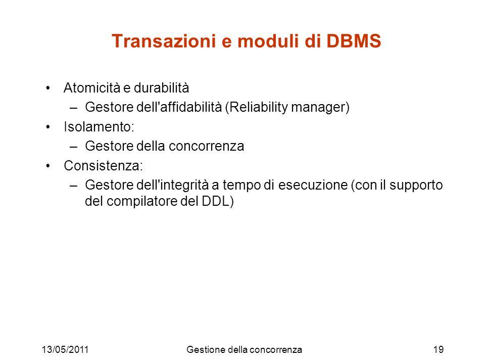 Transazioni e moduli di DBMS