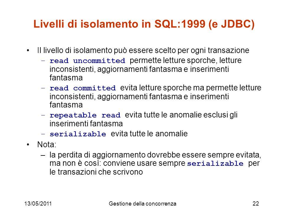 Livelli di isolamento in SQL:1999 (e JDBC)