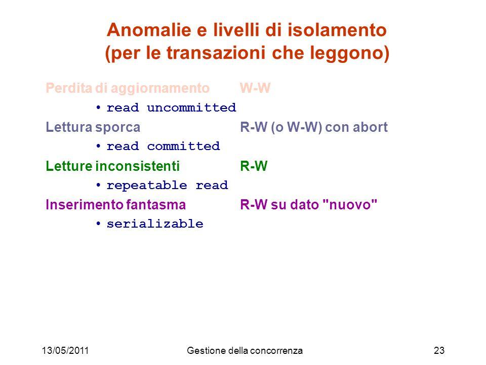 Anomalie e livelli di isolamento (per le transazioni che leggono)