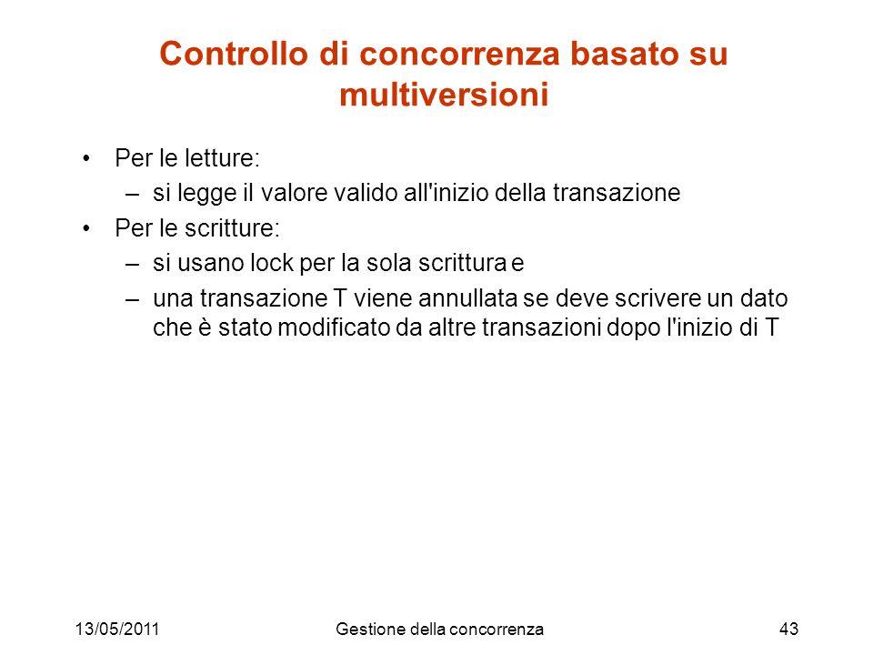Controllo di concorrenza basato su multiversioni