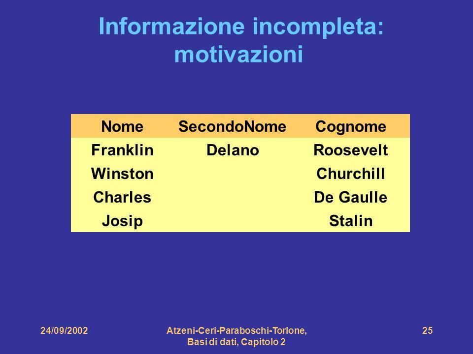 Informazione incompleta: motivazioni