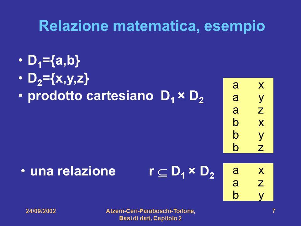 Relazione matematica, esempio