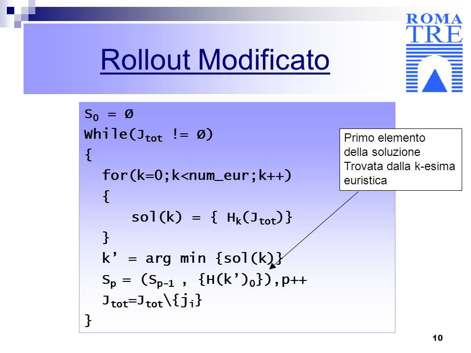 Rollout Modificato S0 = Ø While(Jtot != Ø) { for(k=0;k<num_eur;k++)