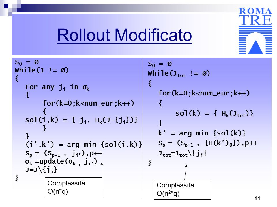 Rollout Modificato S0 = Ø While(J != Ø) { For any ji in σk