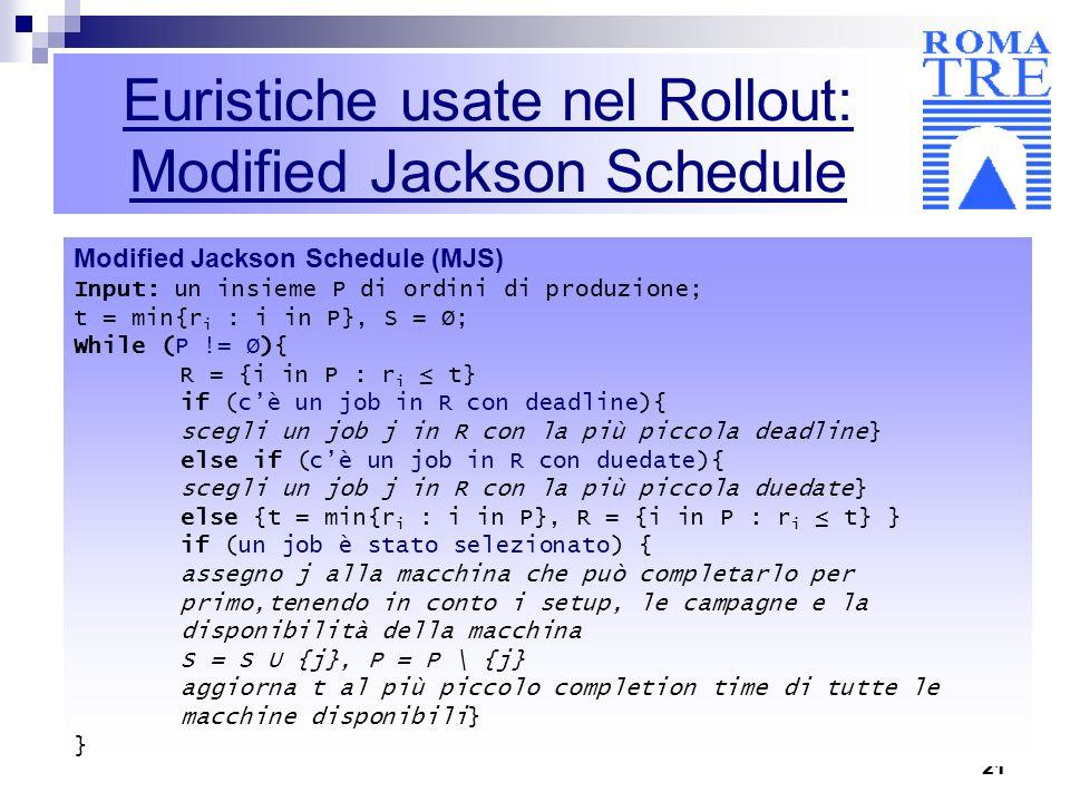 Euristiche usate nel Rollout: Modified Jackson Schedule