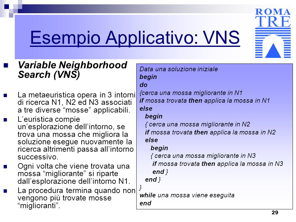 Esempio Applicativo: VNS