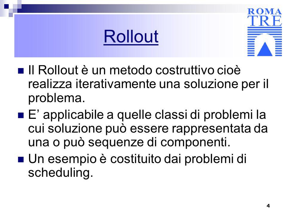 Rollout Il Rollout è un metodo costruttivo cioè realizza iterativamente una soluzione per il problema.