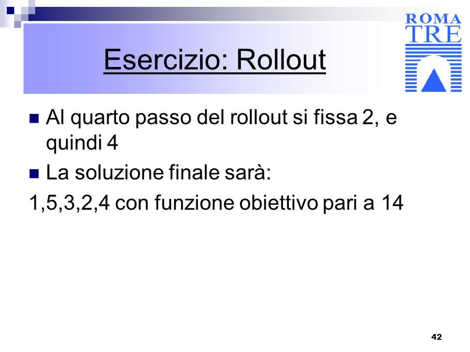 Esercizio: Rollout Al quarto passo del rollout si fissa 2, e quindi 4