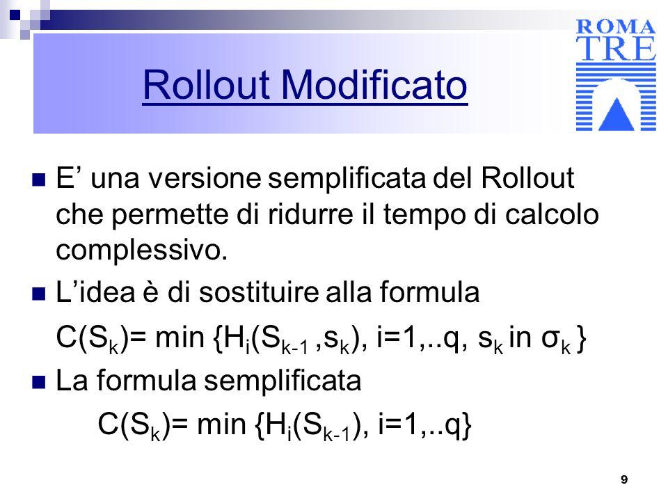 Rollout Modificato E' una versione semplificata del Rollout che permette di ridurre il tempo di calcolo complessivo.