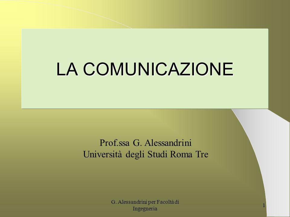 LA COMUNICAZIONE Prof.ssa G. Alessandrini
