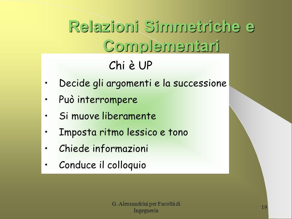 Relazioni Simmetriche e Complementari