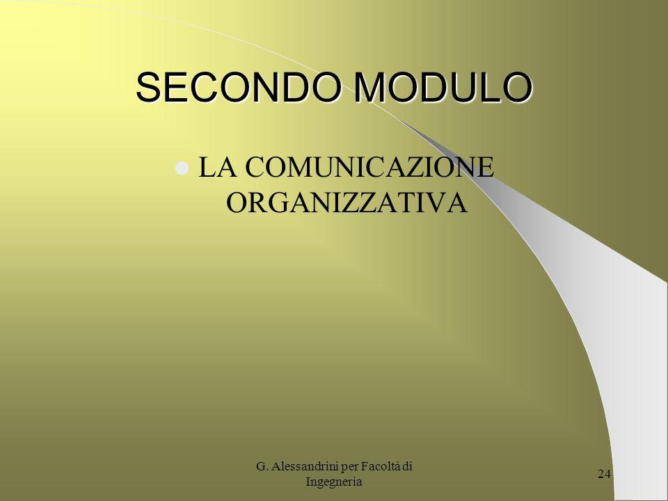 SECONDO MODULO LA COMUNICAZIONE ORGANIZZATIVA