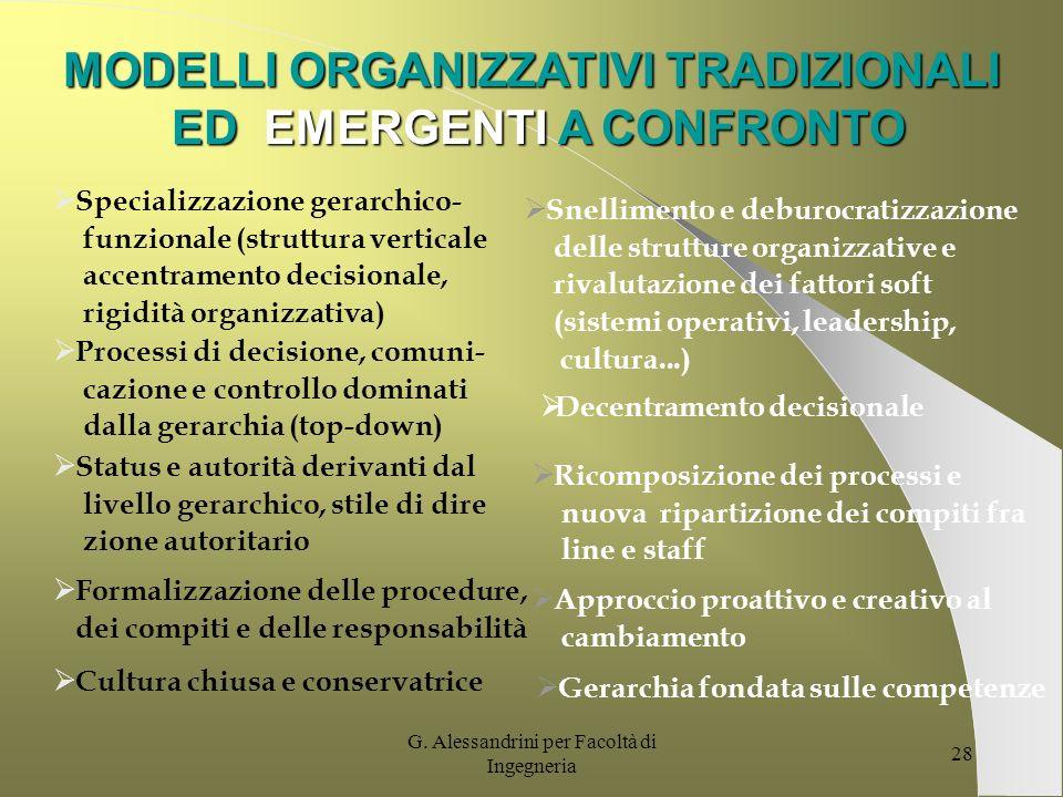 MODELLI ORGANIZZATIVI TRADIZIONALI ED EMERGENTI A CONFRONTO