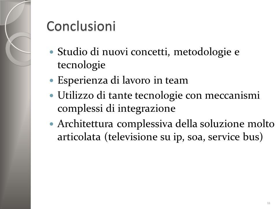 Conclusioni Studio di nuovi concetti, metodologie e tecnologie