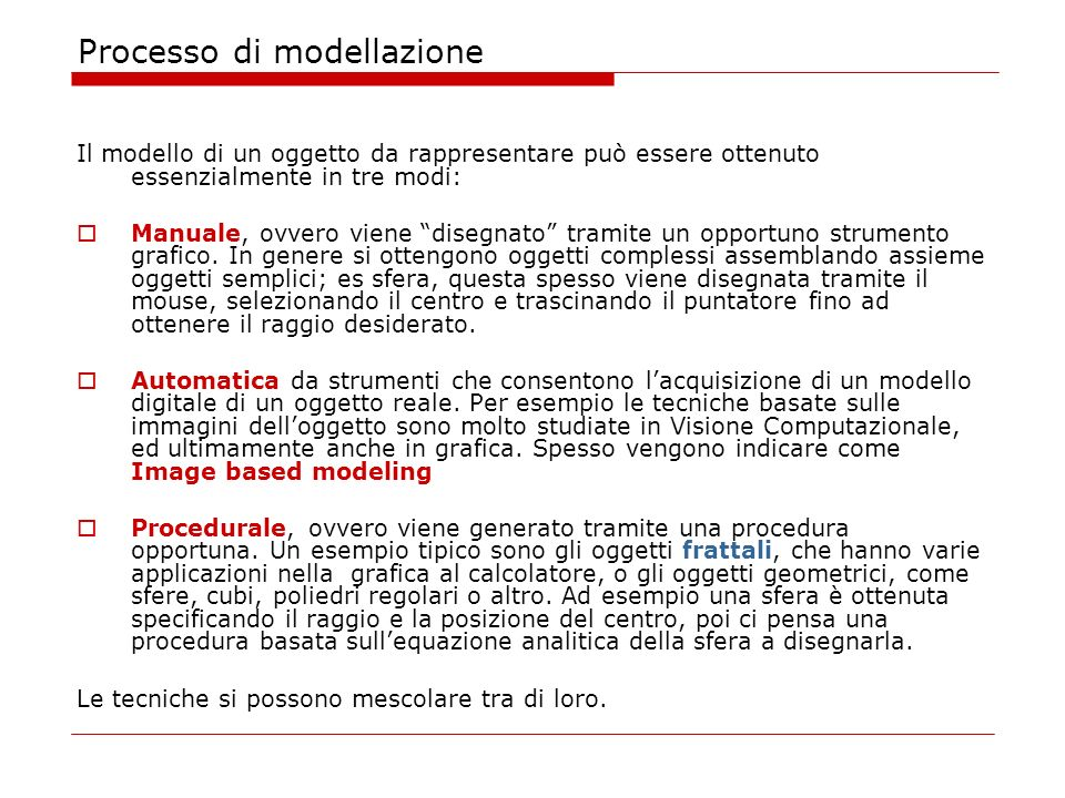 Processo di modellazione