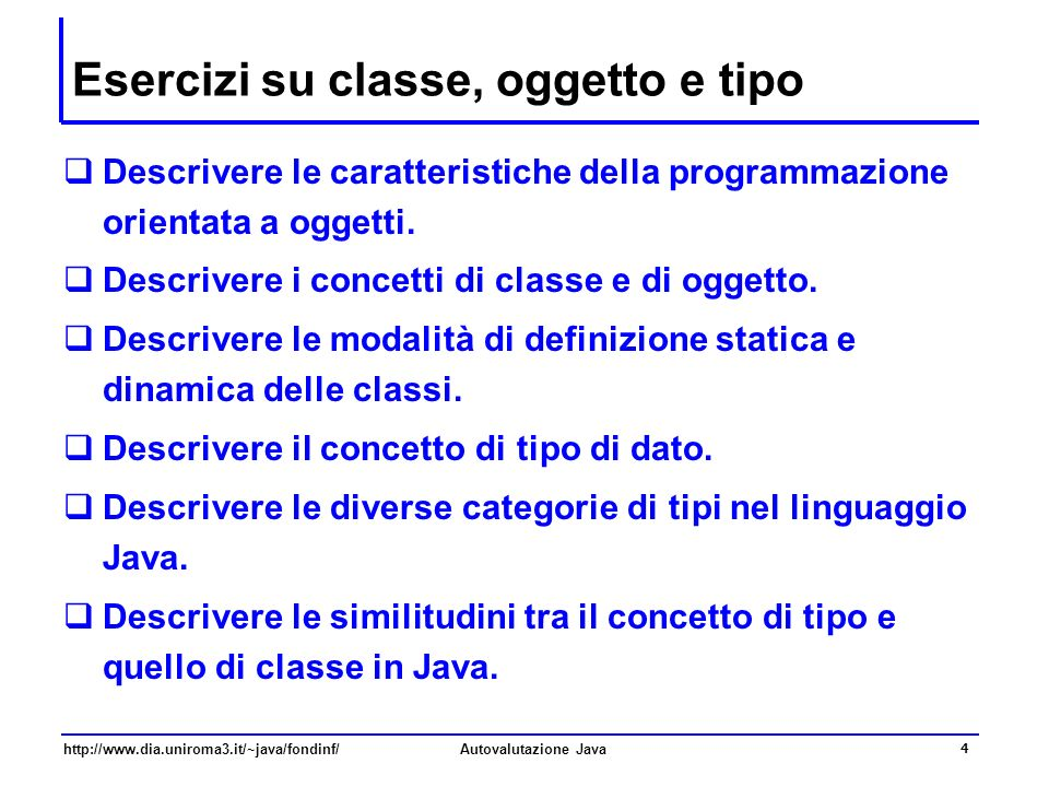 Esercizi su classe, oggetto e tipo