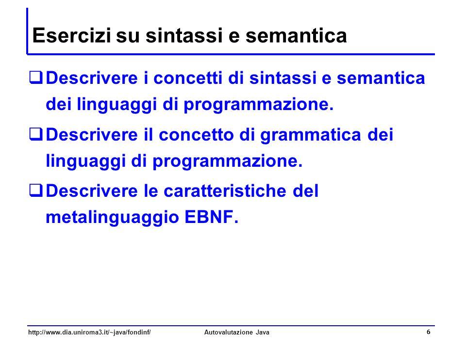 Esercizi su sintassi e semantica