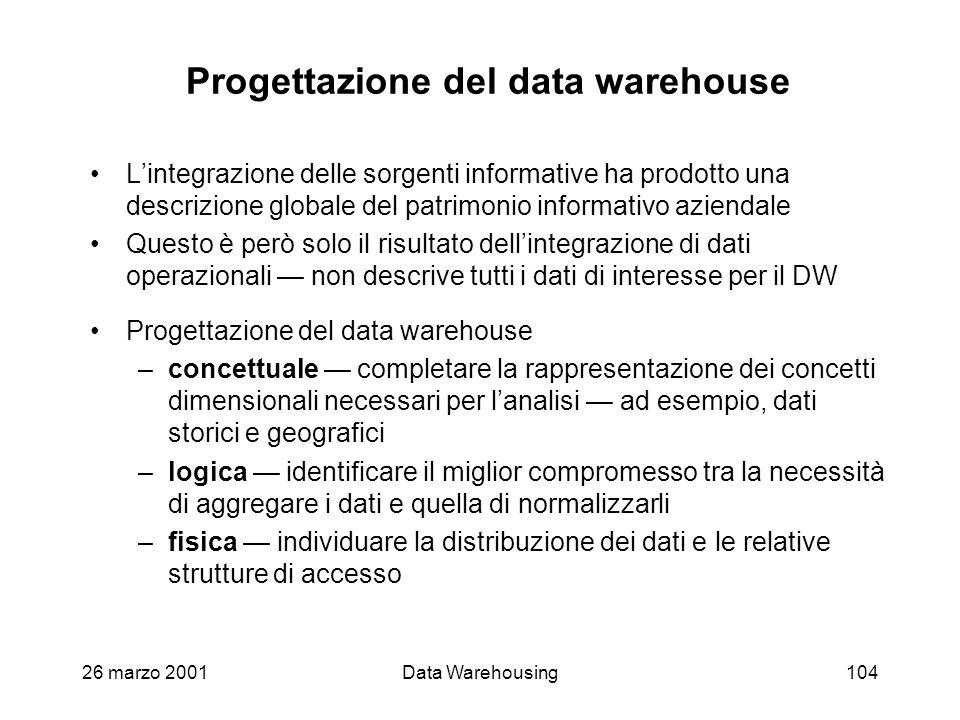 Progettazione del data warehouse