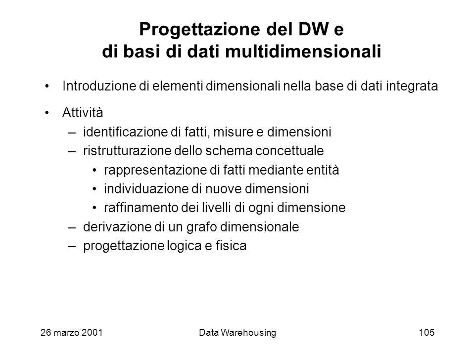 Progettazione del DW e di basi di dati multidimensionali