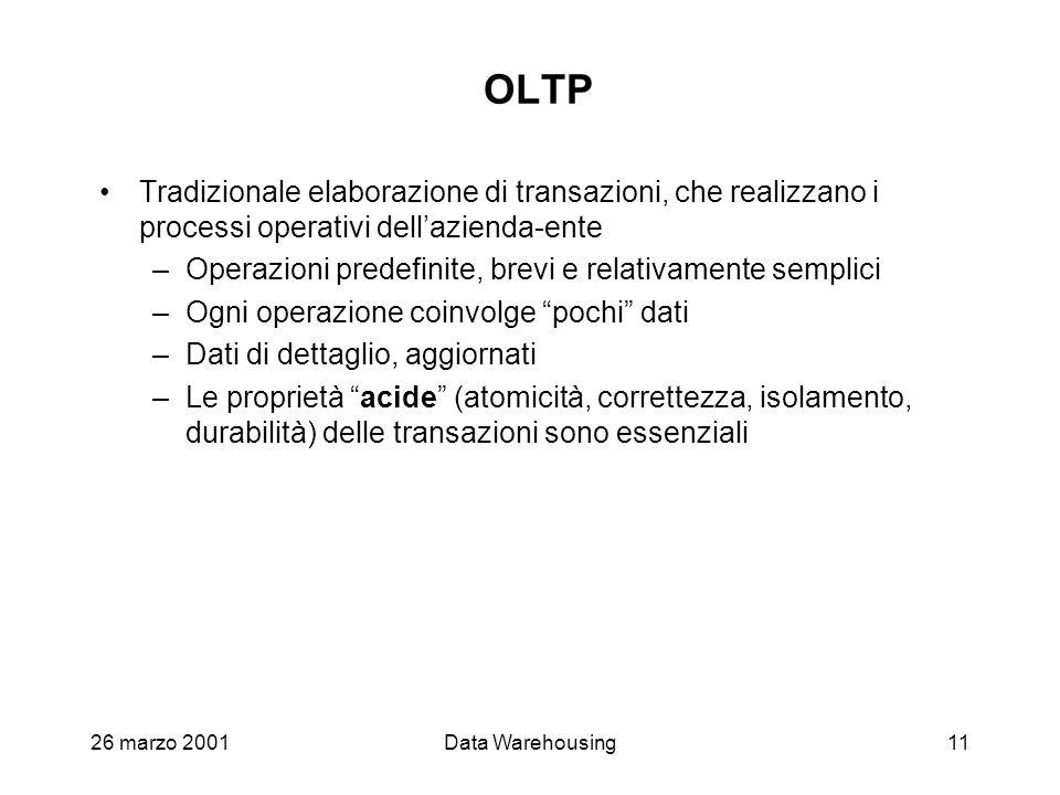 OLTP Tradizionale elaborazione di transazioni, che realizzano i processi operativi dell'azienda-ente.