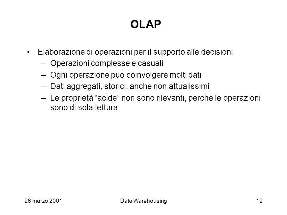 OLAP Elaborazione di operazioni per il supporto alle decisioni